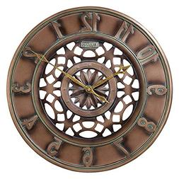 "Bulova C4853 Gardner Outdoor Wall Clock, 16"", Brown"