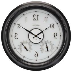 AcuRite 18 in. LED Illuminated Outdoor Clock with Temperatur