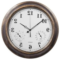 18 Inch Large Indoor Outdoor Wall Clock Waterproof with Temp