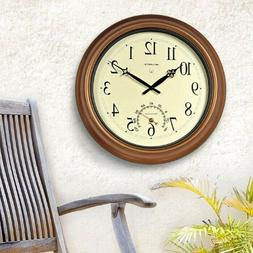 18-inch Outdoor Clock with Thermometer Large Garden Modern H
