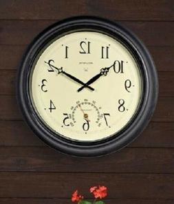 18-inch Outdoor Clock with Thermometer Large Garden Indoor M