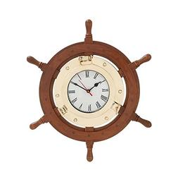 Deco 79 19002 Wood & Brass Ship Wheel Clock