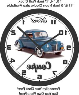 1940 FORD COUPE BLUE WALL CLOCK-FREE USA SHIP!, chevrolet, d