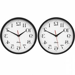 HIPPIH 2 Pack Silent Wall Clock, 10 Inch Non Ticking Digital