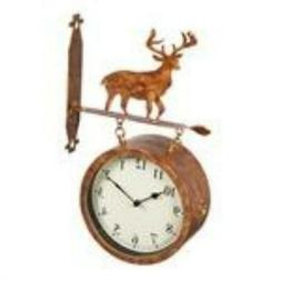 2 Sided Outdoor Wall Clock and Thermometer Deer Icon