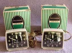 2 Vtg NOS Westclox Luminous Electric Alarm Clock Set w/Box 6