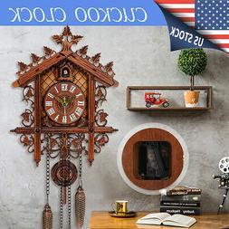2019 Wall Clock Hanging Wood Cuckoo Living Room Swing Vintag