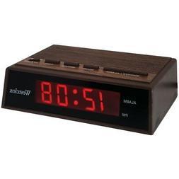 """WESTCLOX 22690 .6"""" Retro Wood Grain LED Alarm Clock"""