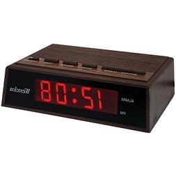 "WESTCLOX 22690 .6"""" Retro Wood Grain LED Alarm Clock Consume"