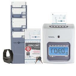 2500 time clock bundle with 100 time cards, card rack and ri