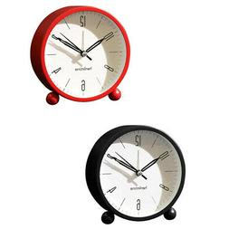 "2pcs 4"" Loud Alarm Clock Night-Light Quartz Analog Clock for"