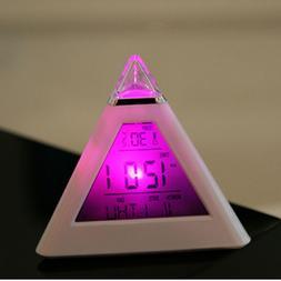 Lot 7 Color Pyramid Temperature Digital Snooze Alarm Clock F