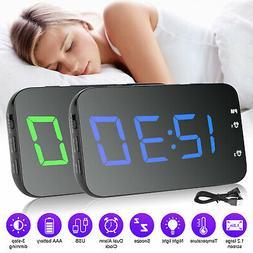 "3.5"" Modern Digital LED Display Desk Clock Alarm Snooze Voic"