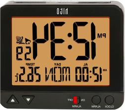 "HITO 3.8"" Digital Battery Atomic Alarm Clock Bedside Black W"