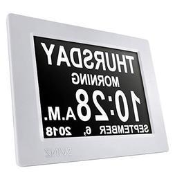 "SVINZ 8"" Digital Calendar Alarm Day Clock with 3 Alarm Optio"