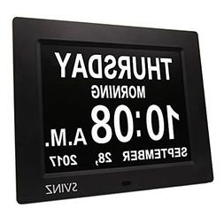 Svinz 3 Alarms Dementia Clock, Digital Calendar Day Clock fo