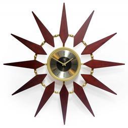 30 inch Mid-Century Gold Walnut Sunburst Wall Clock For Home