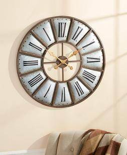 """30"""" Industrial Farmhouse Rustic Wall Clock Oversized Country"""