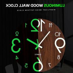 30cm Wall Clock Wooden Glow In The Dark Night Silent Quartz