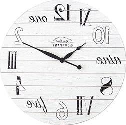 FirsTime 31029 Shiplap Chic Wall Clock, Aged White