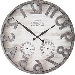 FirsTime 31038 Shiplap Outdoor Wall Clock, Light Gray