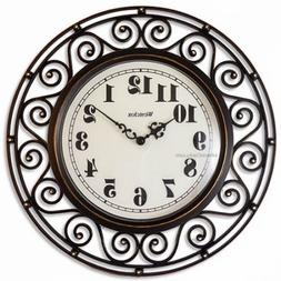 Westclox 32021A 32021a- 12 Antiqued Wrought Iron Wall Clock