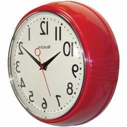 Westclox 32042R Retro 1950 Kitchen Wall Clock, 9.5-Inch, Red