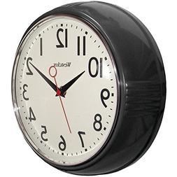 Westclox 32042R Retro 1950 Kitchen Wall Clock, 9.5-Inch Blac