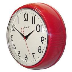 "Westclox 32042R Retro 1950s Kitchen Wall Clock, Red, 9.5"""
