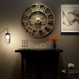 3D Circular Retro Roman Wrought Hollow Iron Clocks Mute Home