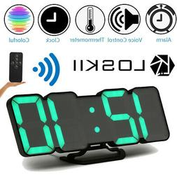 Loskii 3D Colorful LED Wall Clock Alarm Clock Snooze Remote