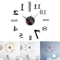 3D Creative Wall Clock DIY Self-adhesive Mirror Surface Stic