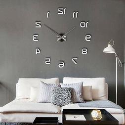 3D DIY Large Frameless Wall Clock Mirror Number Sticker Mode