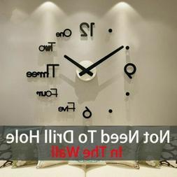 3D Large Wall Clock Frameless Mirror Number Sticker Modern A