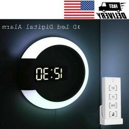 3D LED Digital Table Clock Alarm Mirror Hollow Wall Clock Mo