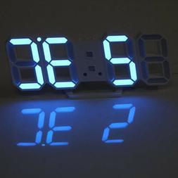 3D USB Big Numbers LED Digital Wall Clock Auto Brightness De