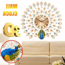 3D Luxury Peacock Large Wall Clocks Metal Living Room Wall W