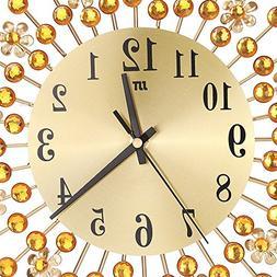3D Metal Wall Clock Diamonds Flower Non-Ticking Silent Dazzl