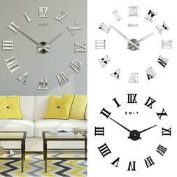 3D Mirror Modern DIY Large Number Wall Clock Surface Sticker