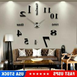 3D Mirror Surface Large Wall Clock Modern DIY Sticker Office