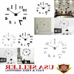 3D Mirror Surface Large Wall Clock Modern DIY Sticker Home D