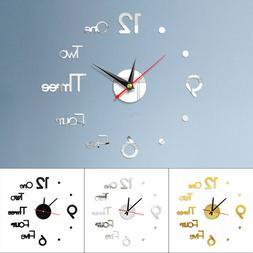 3D Mirror Wall Clock Sticker Big Roman Number Watch Large DI