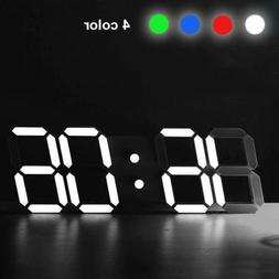 3D Modern Design Digital Led Wall Clock Alarm Table 12/24 Ho