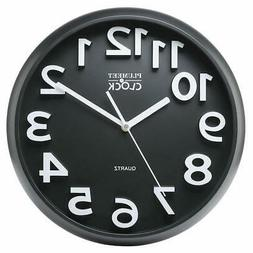 "Plumeet Large Number Wall Clock, 13"" Silent Non-Ticking Quar"