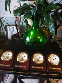 4 Howard Miller Desk Clocks, Brass And MahoganyCommissioned