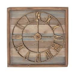 """Deco 79 44444 Square Iron and Wood Wall Clock, 30"""" x 30"""", Br"""