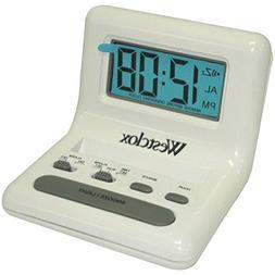 WESTCLOX 47539 .8'' White LCD Alarm Clock with Light on Dema