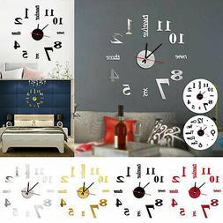3D Modern DIY Large Number Mirror Wall Sticker Big Watch Hom