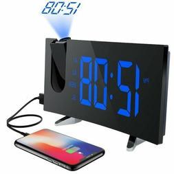 "Mpow 5"" LED Display Digital Projection Alarm Clock Weak Up F"