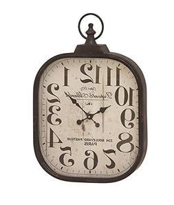 """Deco 79 52560 Metal Glass Wall Clock, 18"""" x 26"""""""